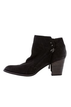 """Western inspired nubuck leather ankle bootiewith gunmetal accents,side zip closure and a stacked wooden heel.    Approx. Measures: 2.75"""" high, 3"""" shaft.   Jessie Ankle Bootie by Dolce Vita. Shoes - Booties - Black Shoes - Booties - Heeled Texas"""