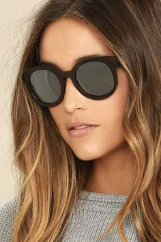 65eaa21e5 Woodzee Gigi Ebony Wood Sunglasses - Silver Sunglasses - Mirrored  Sunglasses - $100.00 Cat Eye Sunglasses