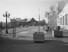 """Foot of Broadway: entrance to """"Bow & Bell"""" completed (1949) The photograph depicts the completed exterior of the Bow and Bell Restaurant, the earliest contributor to Jack London Square. via Oakland Public Library, Oakland History Room and Maps Division"""