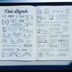 I gathered some Date headers from Facebook, IG and Pinterest all in one spread. These were found all over! Enjoy! @craftyenginerd