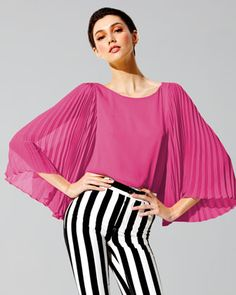 Briar Pleated-Sleeve Silk Top by Alice + Olivia at Neiman Marcus.