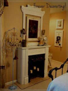 How To Place Faux Fireplace Ideas: Decorations Fireplace Cool White Faux Fireplace With Sweet White Mirror ~ hivenn.com Decorating Inspiration