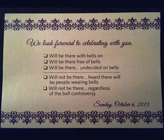"""I love this because my grandma actually wrote """"Will be there with bells on"""" on her response card for my wedding!"""