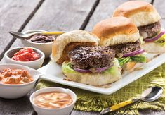 Organic Grass Fed Ground Beef Sliders with Crazy Condiments. Makes 8 sliders Appetizers For Party, Appetizer Recipes, Dinner Recipes, Lamb Recipes, Cooking Recipes, Spicy Stew, Slider Sandwiches, Beef Sliders, Grass Fed Beef