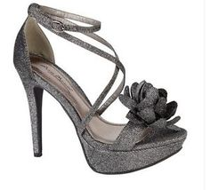 Ladies TWO Tone Black Silver Glitter High Heeled Sandals With Flower L3374 | eBay