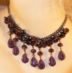 Vintage Purple Aurora Borealis (AB) Crystal Necklace ~ New Old Stock! by MarlosMarvelousFinds