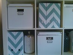 cute cheveron painted storage boxes. We can easily make these :) The boxes would be perfect too!
