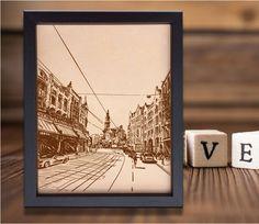 Lik176 Leather Engraved Netherlands Amsterdam street Honeymoon third anniversary personalized gift