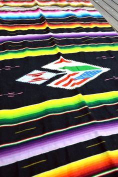 Lovely Rare Vintage Handwoven Mexican Blanket Throw - Serape Saltillo Rug Blanket