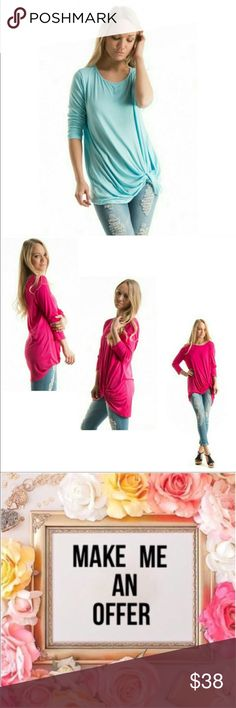 Submit Offer 3/4 Sleeve Side Knot Tunic • Brand New • NWOT Boutique  • 92% Rayon 8% Spandex  • small, medium or large available • very soft and flattering material  • available in Fuchsia or Aqua Fashionomics Tops Tunics