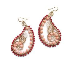 Wire Wrapped Earrings, Paisley Earrings, Beaded Coral Earrings, 14k Gold Fill Hammered, Freshwater Pearls