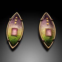 Sunrise Earrings - Artisan Jewelry - Cloisonné Enamel, 24K Yellow Gold Wire, 18K Yellow Gold by Amy Roper Lyons
