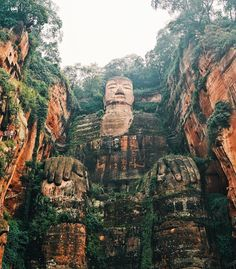 The Leshan Giant Buddha is a 71metre (233ft) tall statue, the biggest Buddha in the world. The construction took 90 years to finish and is located in Leshan, China (pinterest//paintingcloudds❃ )