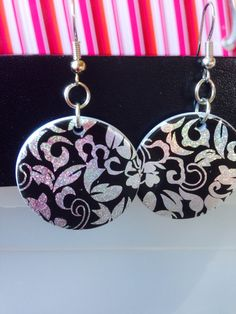Earrings ~ Black Disc Earrings ~ holographic silver floral design ~ drop earrings ~ fashion jewellery ~ costume jewellery by Nerdacious on Etsy