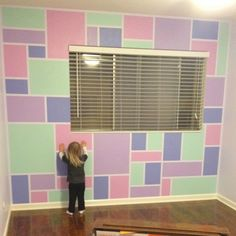 Adorable and modern wall treatment for a kid's room! We did this for our daughter's room with a level, green frog tape, 4 Disney paint colors, and a lot of time and precision :)