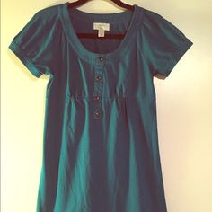 Price drop!! Ann Taylor Loft XSP Teal Dress Cute teal shirt dress, comfy cotton blend, extra small petite, above knee length, buttons down front don't open, gently owned Ann Taylor Loft Dresses Mini