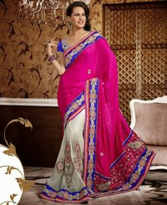 Buy Gorgeous Deep Ivory & Pink Party Wear Saree online at $132.38 [ADF31476]