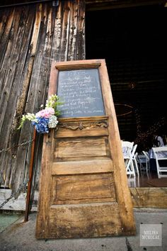 Old Door Reused Into Restaurant Menu Wood & Organic