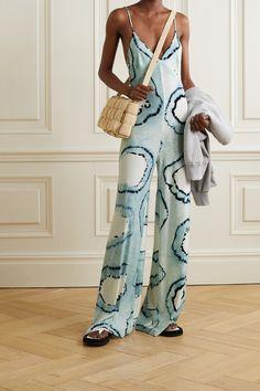 NORMA KAMALI - Tie-dyed Stretch-jersey Jumpsuit - Blue Norma Kamali, Blue Ties, Tie Dyed, Fashion Advice, Wide Leg Pants, Bodice, Jumpsuit, Menswear