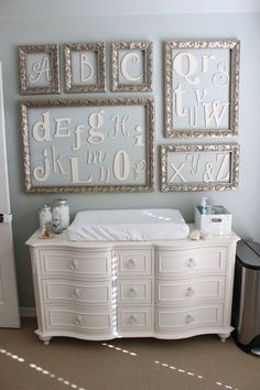 gender neutral nursery-good idea to substitute the ABC..., for facts about the baby so far, picture one professionally done, sonogram, name and date born, keepsake frame in the middle such as the shirt he/she wore from the hospital .