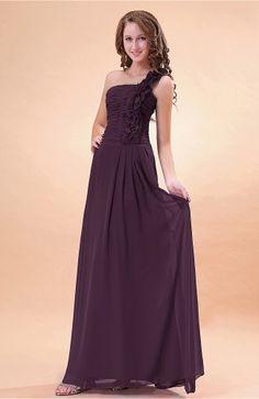Plum Bridesmaid Dress - Modern A-line One Shoulder Zip up Chiffon Floor Length