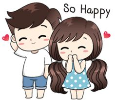 Boobib lovely couple - Stiker LINE Love Cartoon Couple, Chibi Couple, Cute Cartoon Girl, Cute Love Cartoons, Anime Love Couple, Cute Couple Drawings, Cute Couple Art, Love Drawings, Cute Couples