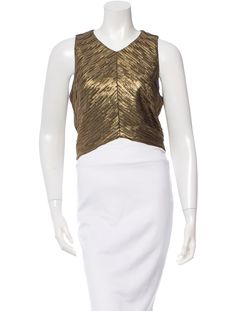 Gold metallic Torn by Ronny Kobo sleeveless top with V-neck, cropped hem and exposed pewter-tone zip closure at back.