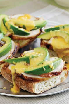Chicken. Avocado and Cheddar Melts Recipe | Safeway - Lucerne Shredded Cheddar Cheese and creamy avocado upgrade this classic chicken sandwich. Simply broil open-faced for ten minutes and then sit back and enjoy the melted goodness.
