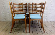 Lane Rhythm Set of 6 Cat Eye Dining Chairs Mid Century Modern Retro 50's 60's New Upholstery Maharam