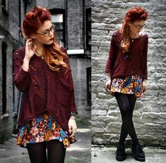 winter fashion: solid sweater over a floral dress = perfect winter transition