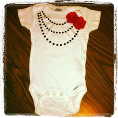 Necklace baby onsie with pink flowers *sewnbylaura $20