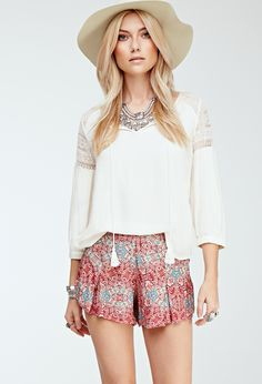 Abstract Mosaic Print Shorts - Shop All - 2052288401 - Forever 21 EU