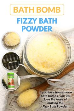 Easy DIY bath bombs fizzy bath powder is great to make if you love bath bombs but don& have the time or patience to prepare into bath bomb molds. This bath bomb dust can be layered to make different scents and will fizz just like a lush bath bomb would! Bath Bomb Molds, Lush Bath Bombs, Bath Boms Diy, Bath Salts Recipe, Homemade Bath Bombs, Diy Bath Bombs Easy, Bath Bomb Recipes, Soap Recipes, Bath Fizzies
