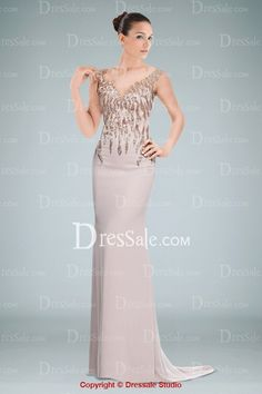 Elegant Sheath Evening Dress Accented with Beaded Applique and Illusion Back