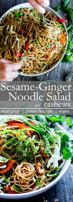 A flavor packed dressing with crunchy veggies Sesame-Ginger Noodle Salad with Cashews comes together with ease. Make once eat all week! This recipe is vegan vegetarian gluten free option Thai Noodle Salad, Sesame Noodle Salad, Noodle Salads, Soba Salad, Whole Food Recipes, Cooking Recipes, Vegetarian Recipes, Healthy Recipes, Tagliatelle