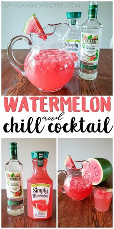 Watermelon & Chill Cocktail- A girly pink alcoholic drink for summertime. Simply watermelon juice and smirnoff plus more! The most refreshing drink of summer. Fresh watermelon cubes on top! Great recipe would rate 5 stars. Pink Alcoholic Drinks, Liquor Drinks, Vodka Drinks, Party Drinks, Fun Drinks, Beverages, Pool Drinks, Watermelon Alcohol Drinks, Alcoholic Shots