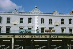 Geo Carter's Menswear on the Old Kent Road, By Terence Nunn. London Pictures, London Photos, Old Pictures, Old Photos, London History, Local History, South London, Old London, London Postcard