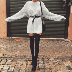 kleider für overknees 15 besten Not sure that I'd do the heals but I'm crazy about this look! Winter Fashion Outfits, Fall Winter Outfits, Look Fashion, Autumn Winter Fashion, Fashion Clothes, Fall Fashion, Trending Fashion, Gothic Fashion, Womens Fashion