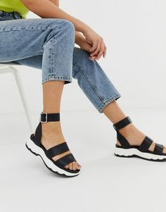 7b91a7688b17 ASOS DESIGN For Real chunky sporty flat sandals Flat Sandals