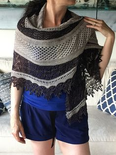 Romi's Mystery Shawl 2017 by Rosemary (Romi) Hill, knitted by teresat2t | malabrigo Mechita in Pearl and Eggplant
