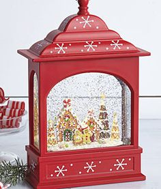 Battery Operated with Timer 11 Inch Lighted Puppy Dog and Christmas Tree Water Snow Glitter Globe Lantern Decor