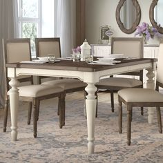 Farmhouse Dining Room Decor and Furniture for your rustic home. We love farm home dining room decorations in a country style home. Solid Wood Dining Table, Extendable Dining Table, Dining Table In Kitchen, Dining Room Table Sets, White Dinning Table, Dining Area, Cocina Shabby Chic, Outdoor Dining Furniture, Sunroom Furniture