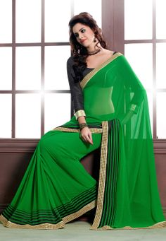 Green Faux Georgette Saree with Blouse @ $72.92