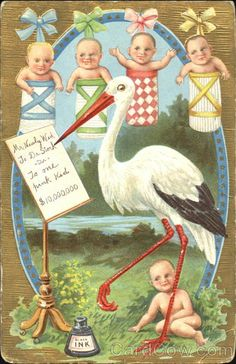 Stork with Babies