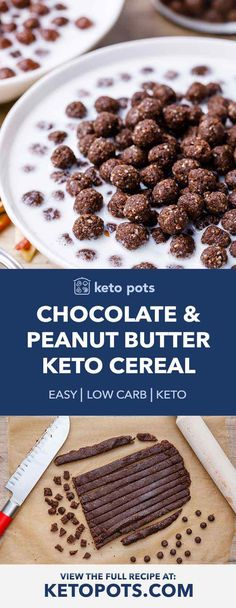 Homemade Chocolate and Peanut Butter Keto Cereal (yum!) - Keto Pots - Homemade Chocolate and Peanut Butter Keto Cereal (yum! Cereal Keto, Low Carb Cereal, Healthy Cereal, Cereal Food, Homemade Cereal, Homemade Chocolate, Chocolate Cereal, Homemade Breakfast, Low Carb Breakfast