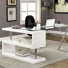 Brownen White Desk  - CM-DK6131WT $298  Description :  Designed with the contemporary worker in mind, this office desk will liven up any dull work space! A spacious 10mm glass table top and glossy, lacquer coated geometric table base work together to liven up any existing work space. Open shelves are available for storage as well. Finally, swing the glass top and chrome leg around for a more compact setting.  Features :   Modern Design Unique S-Shaped Side Panel 10mm Transparent Temper