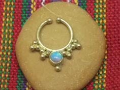 Fake septum ring, tribal septum, fake septum ring, indian fake septum, brass septum by opaljewells on Etsy