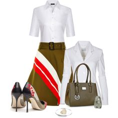 Office outfit: White - Olive by downtownblues on Polyvore featuring Preen, BIBI VAN DER VELDEN and Movado