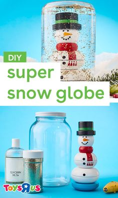 Create a shimmery winter wonderland in just a few steps. Perfect to display all season and in any room of the house. Break out your hot glue gun, 'tis the season to get crafting with the kids! #DIYforkids #snowglobe #snowman #familycrafts #holidaydiy #christmascrafts