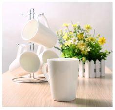 Kicode – 4 Tazas de café de porcelana: Tazas de Desayuno Blancas de 300ml: juego de 4 tazas de porcelana con soporte metálico en oferta